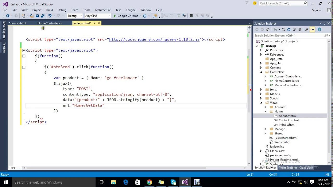 jQuery Send & Receive JSON Object using ajax post asp net mvc with Example
