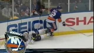 Josh Bailey hits Jordan Leopold