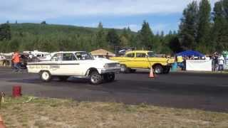 ford fairlane vs 57 chevy billetproof eruption drags toutle wa 2013