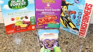 Black Forest, Annie's, Kroger Transformers & Dole Grape Fruit Snacks Review
