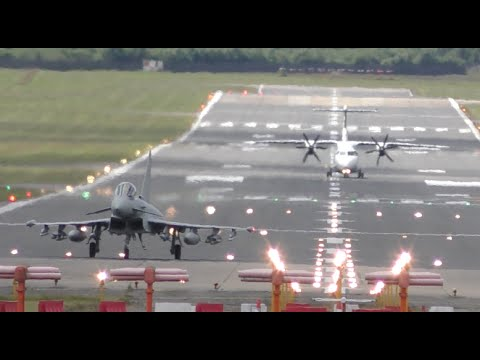 Amazing Typhoon fighterjet spectacular powerful takeoff 4K VIDEO Farnborough 2016 airshow