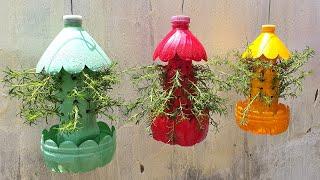 정원 플라스틱 병을 아름다운 벽걸이 형 화분으로 재활용