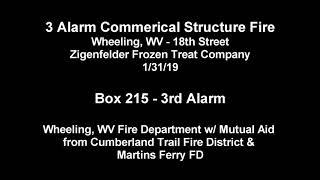 [AUDIO DISPATCH] - 3 ALARM STRUCTURE FIRE - WHEELING WV FIRE DEPT 1/31/19