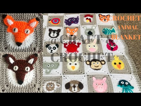 Crochet Fox/Crochet animal blanket/crochet baby blanket/Part:12