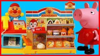 佩佩豬粉紅豬小妹去麵包超人玩具便利店購物的故事