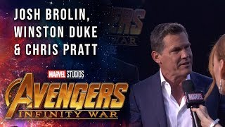 Josh Brolin Joins Chris Pratt and Winston Duke Live at the Avengers: Infinity War Premiere