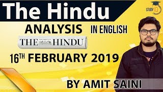 English 16 February 2019 The Hindu Editorial News Paper Analysis [UPSC/SSC/IBPS] Current Affairs