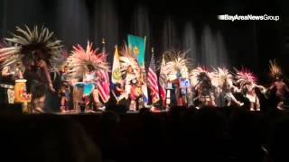 Calpulli Tonalehqueh Aztec Dance performs at the start of the San Jose 2015 inaugural Ceremony #merc