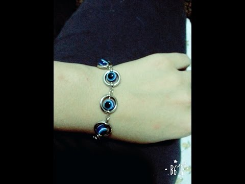 DIY Jewelry Making - How to Make beaded Bracelet With metal circles + Tutorial .