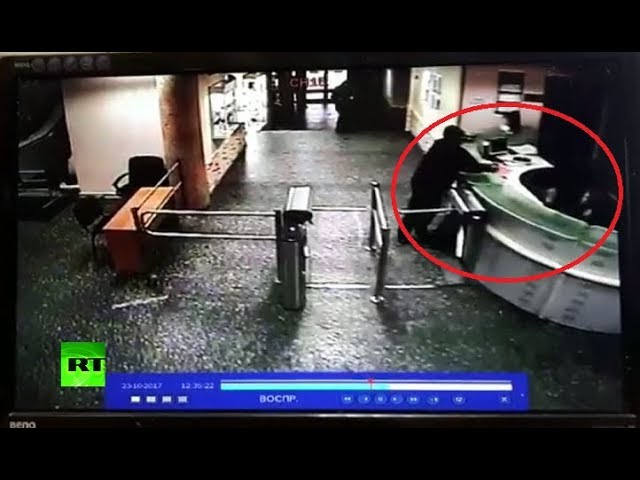 CCTV: Moment Russian journo's attacker enters radio station, peppersprays security
