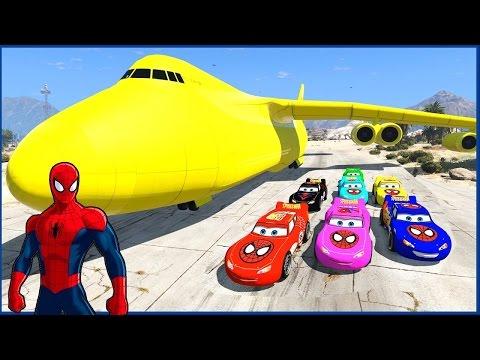 Spiderman Disney Coches Relámpago Mcqueen Coches Cargo Avión ( Canciones Para Niños)