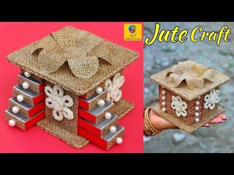 DIY Jewellery Box Made from Jute Rope | Mini Jewellery Box Making | Jewellery Organizer | Jute Craft