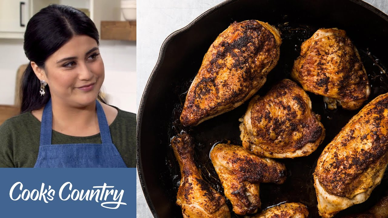 How to Make Incredible Cast-Iron Baked Chicken and Blueberry Cornbread with Honey Butter
