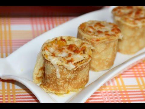 crêpe-roulée-légumes-&-béchamel---rolled-pancake-with-vegetables-&-bechamel---كريب-رول
