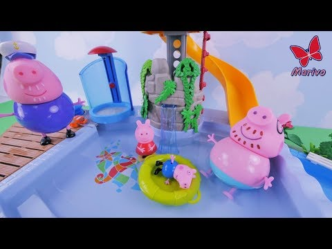 Peppa Pig Big fun at the swimming pool with a familly! Story for kids in english