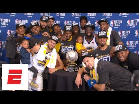 FULL  Golden State Warriors win 2018 Western Conference finals  The trophy  presentation  9b5ddeb77
