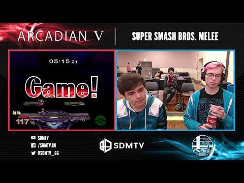 Arcadian 5 - Streamlord (Fox) Vs. NAKO (Puff) - Singles Top 8 Losers Semifinals - Smash Melee
