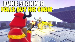 Dumb Scammer Falls Off Chair! 😂😂 (Scammer Gets Scammed) Fortnite Save The World
