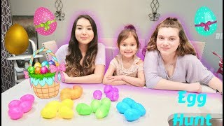 Easter Egg Hunt Race with Glowing Eggs!