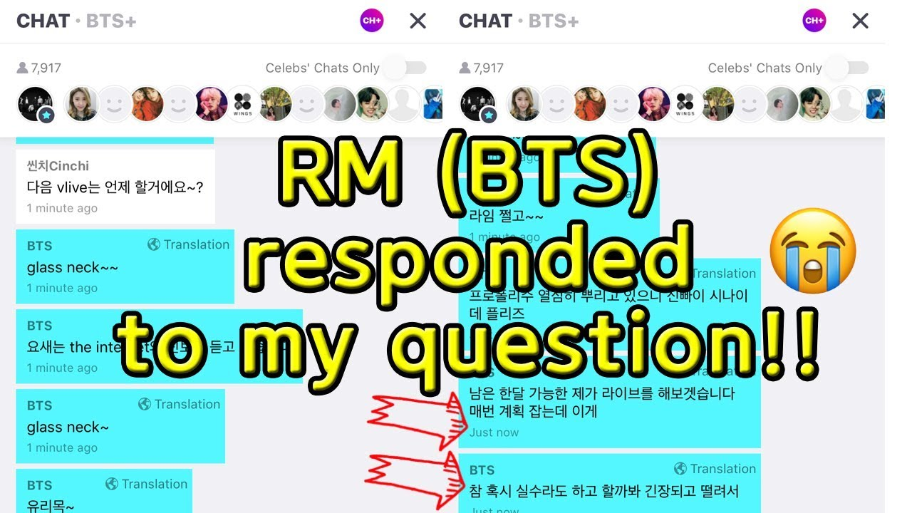 RM responded to my question (BTS CH+ Chat on Vlive)