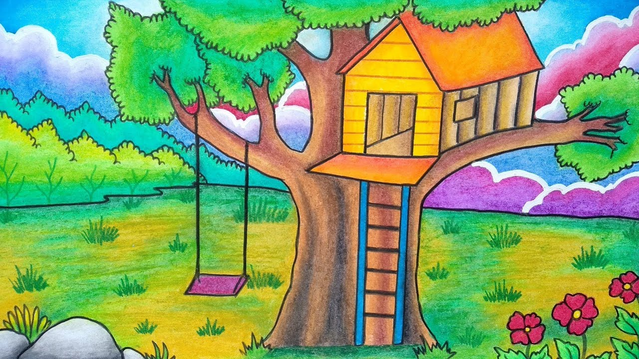 Cara Menggambar Rumah Pohon Menggambar Pemandangan Rumah Pohon Belajar Menggambar Dengan Mudah Youtube