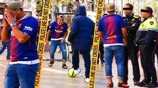 FC BARCELONA STREET FUSSBALL CHALLENGE + POLIZEIEINSATZ II gedemütigt/entehrt/verhaftet?!