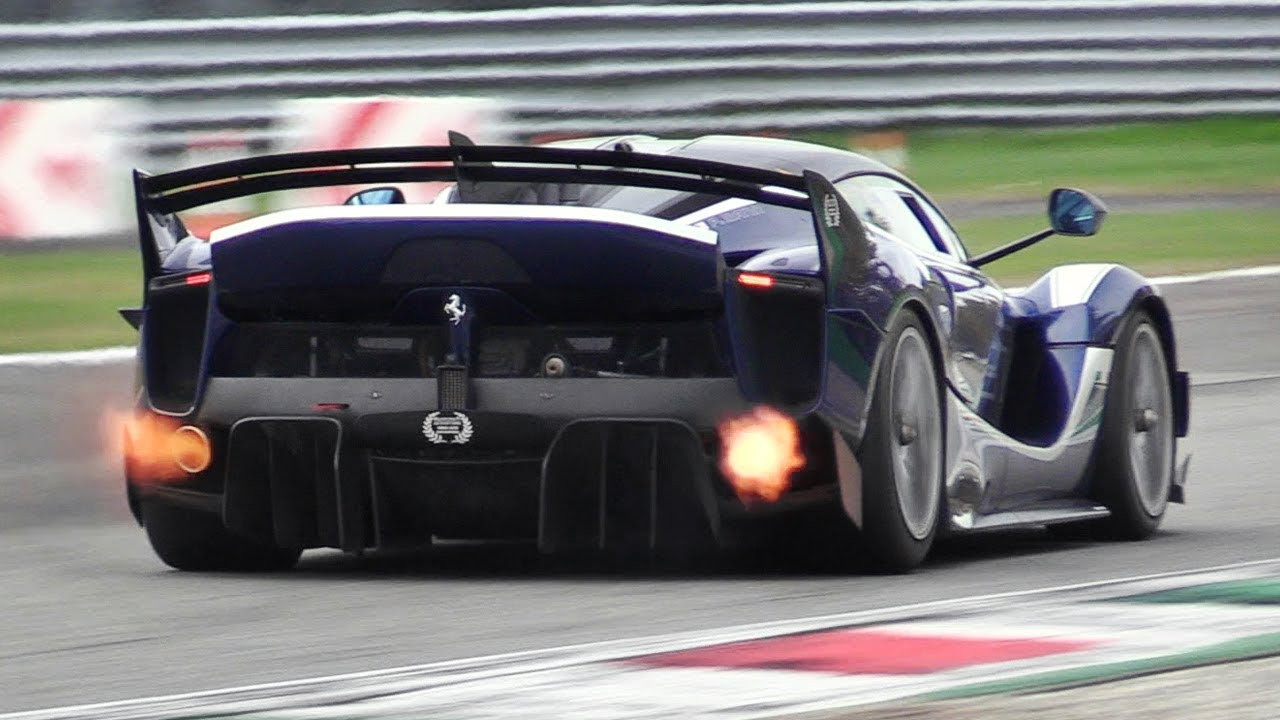 8 x Ferrari FXX K EVO Pure Sound at Monza Circuit Accelerations, Flames \u0026  Hot Glowing Brakes!