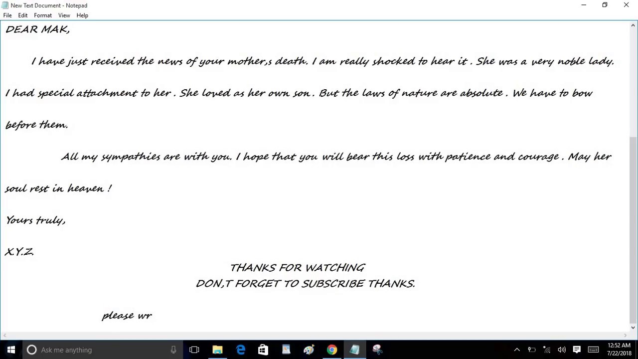 Write a letter to your friend condoling the death of his mother write a letter to your friend condoling the death of his mother mak plays official hd altavistaventures Images