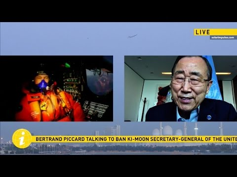 Secretary-General Ban calls Solar Impulse Pilot