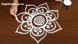 Very Simple Flower rangoli n kolam designs without dots for newyear 2019 for beginners#easymuggulu