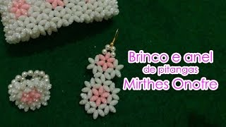 Brinco e anel de pitangas Mirthes Onofre