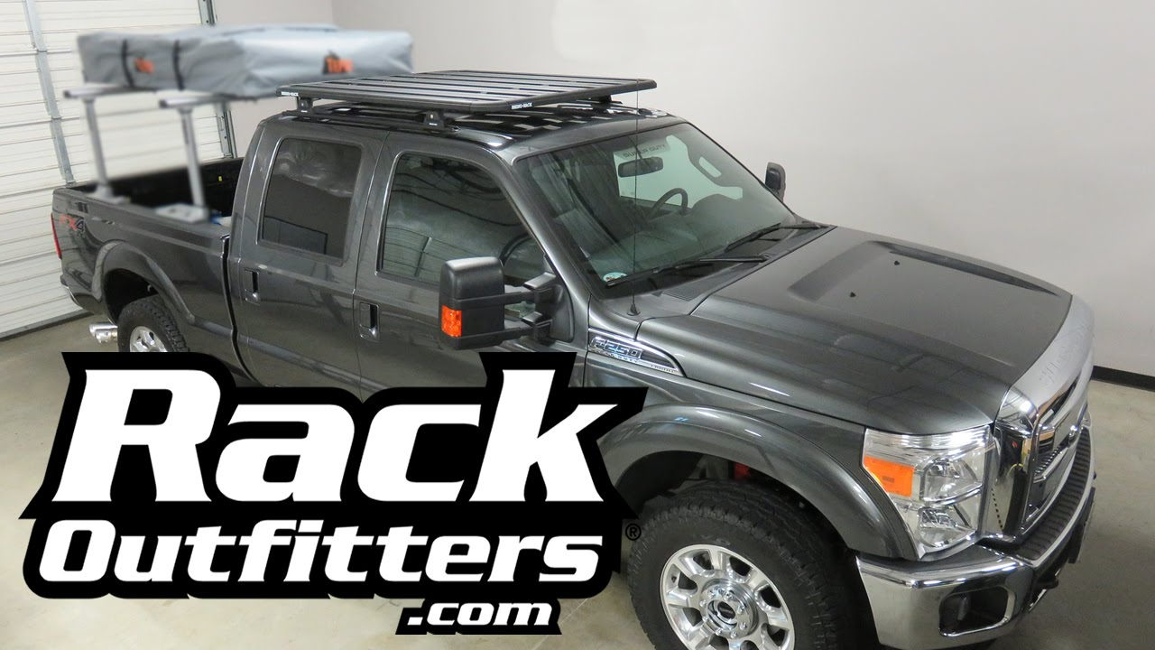 Prius Roof Rack >> Ford F250 Crew Cab with Rhino-Rack Pioneer Platform Cargo Roof Rack - YouTube