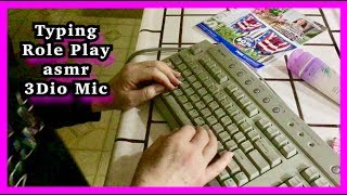 Relaxing ASMR Typing, gentle whispering, juicy gum chewing 3Dio Binaural Mic, page flipping