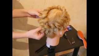 Объемная коса, заплетенная по голове