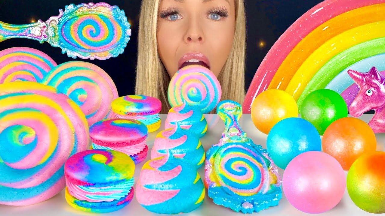 ASMR UNICORN POOP COOKIES, MERINGUE LOLLIPOPS, VINTAGE HAND MIRROR, JELLY NOODLES MUKBANG 먹방 꿀벌