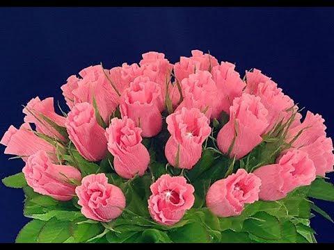 Цветы с конфетами из гофрированной бумаги своими руками видео уроки