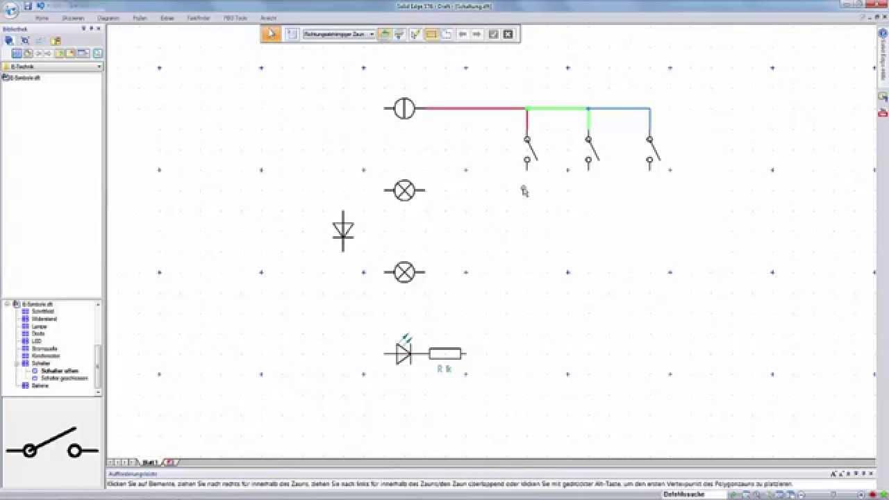 Solid Edge Tutorial: Arbeiten mit Blöcken (Beispiel: Schaltplan ...