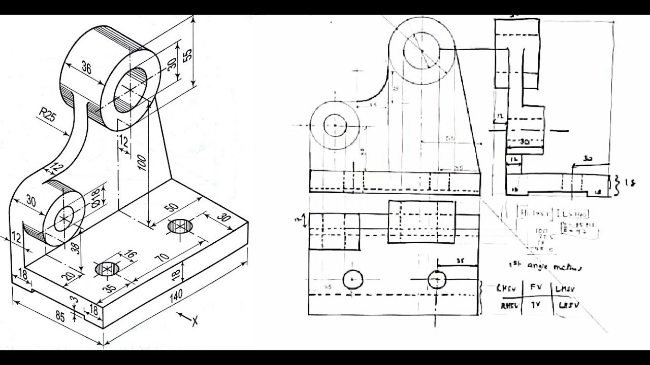 ISOMETRIC TO ORTHOGRAPHIC PROJECTION SUM NO 1 TECHNICAL
