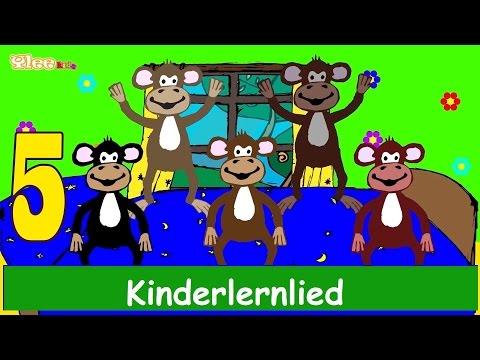 Fünf kleine Affen - Kinderlied - Lernlied in Deutscher Sprache - Sing mit Yleekids