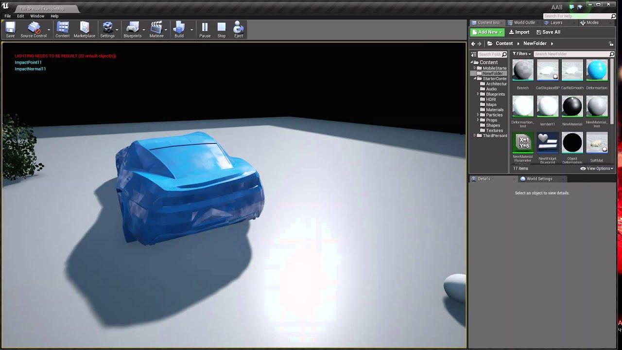 UE4 object (car) deformation test