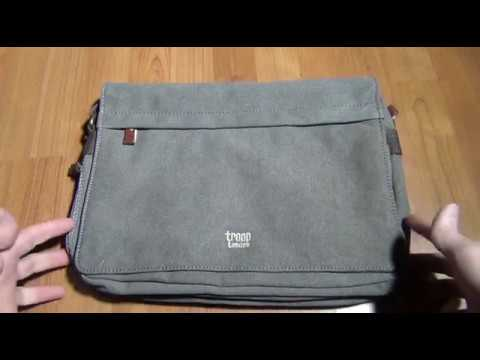 Troop London TRP0241 Classic Canvas Leather Shoulder Messenger Bag Full Look