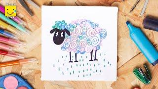 Как нарисовать волшебную овечку фломастерами - урок для детей от 4 лет, рисуем дома поэтапно