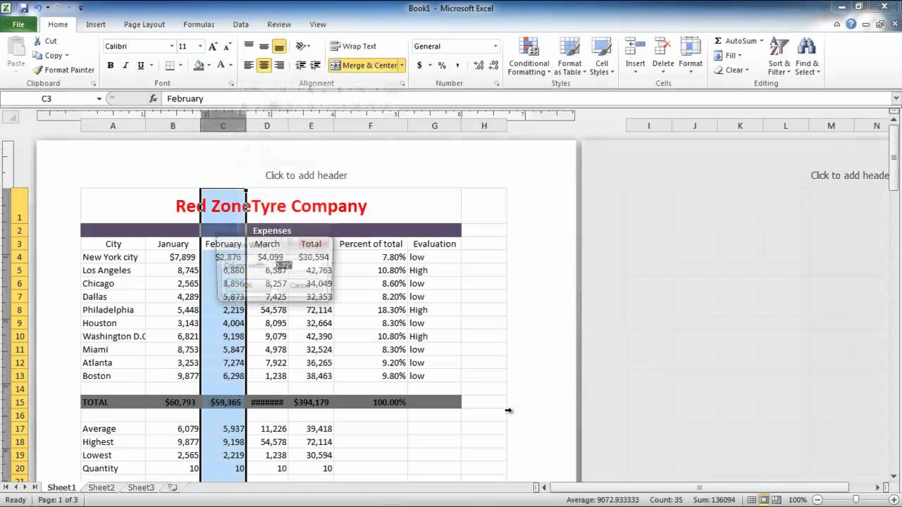 How to adjust columns, rows and text in Excel 2010