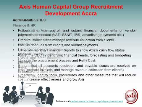 Axis Human Capital Group Recruitment Development Accra: Jobs for Finance Officer