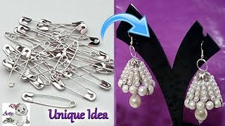 #99 How To Make Safety pin Pearl Earrings At Home | Jhumkas making Idea | Jewellery Making at Home