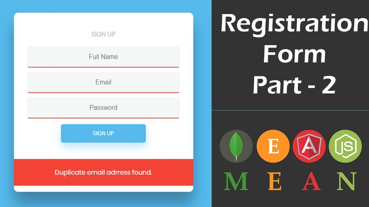User Registration Form in MEAN Stack Using Angular 6 - Front End