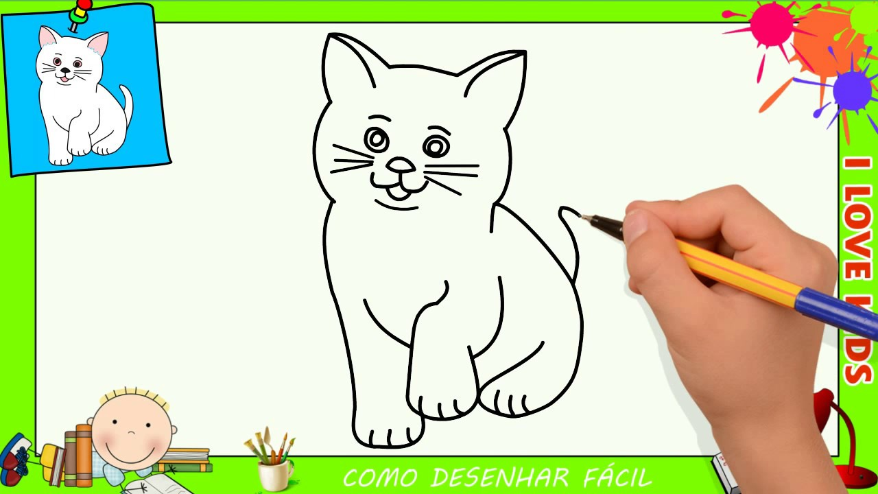 Como Desenhar Um Gato Facil Passo A Passo Para Crianças E Iniciantes 2