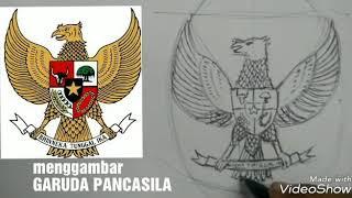 Menggambar sketsa GARUDA PANCASILA   drawing GARUDA PANCASILA step by step