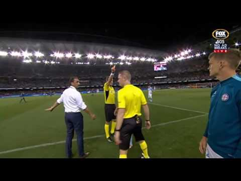 Tim Cahill Red Card in Melbourne Derby before entering pitch | A-League 2016/17