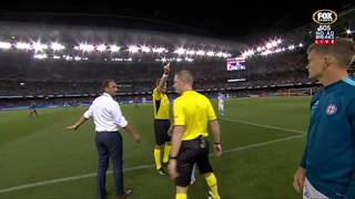 Tim Cahill Red Card in Melbourne Derby before entering pitch | A-League 2016/17 thumbnail